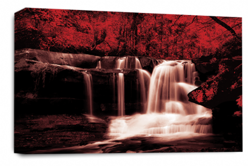 Waterfall Landscape Wall Art Red Grey White Canvas Forrest Picture